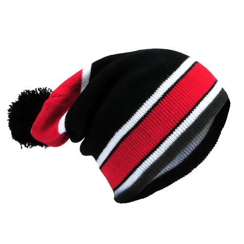 czapka beanie paski /czarno-czerwona/