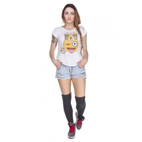 T-shirt woman druk emoji KING  biały
