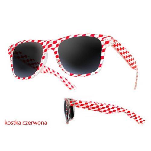 okulary przeciwsłoneczne kostka CZERWONE
