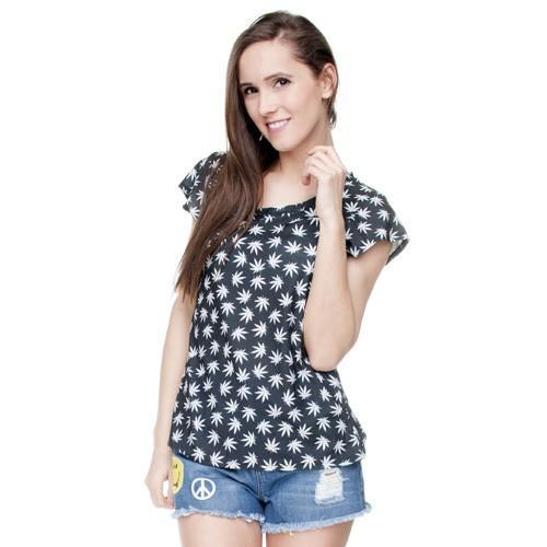 T-shirt woman druk MARIJUNA BLACK