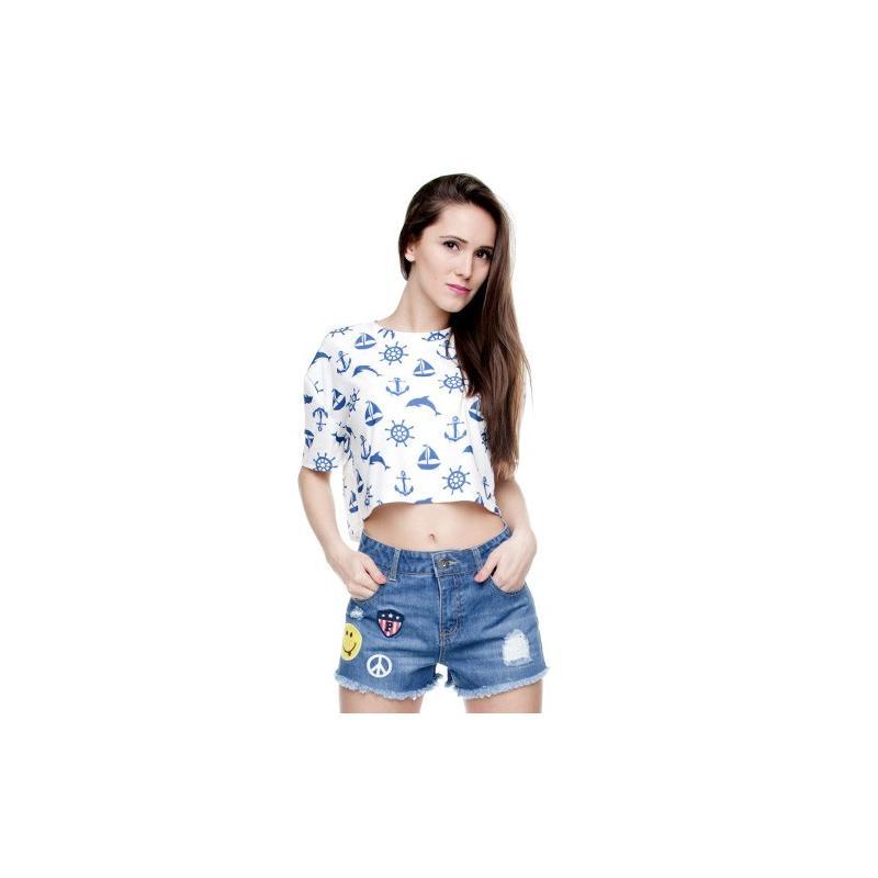 T-shirt woman druk MARINE white