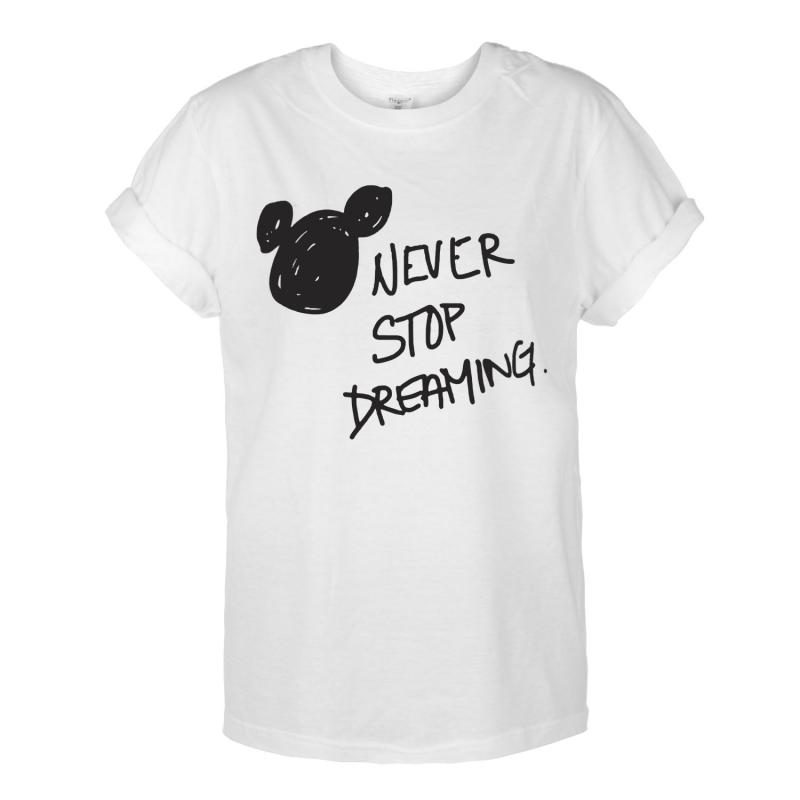 T-shirt OVERSIZE NEVER STOP DREAMING /biała/