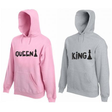 Bluza z kapturem DLA PAR 2 SZT pawns QUEEN & KING
