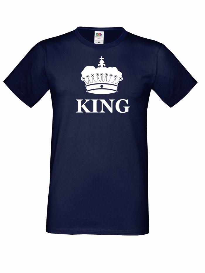 T-shirt oversize KING KORONA L granatowy