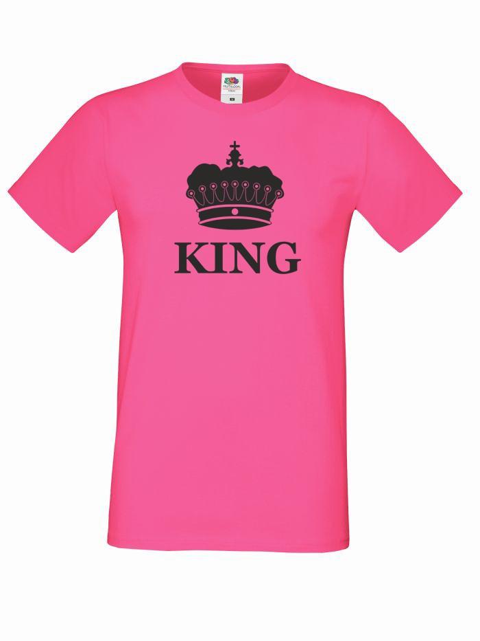 T-shirt oversize KING KORONA S różowy