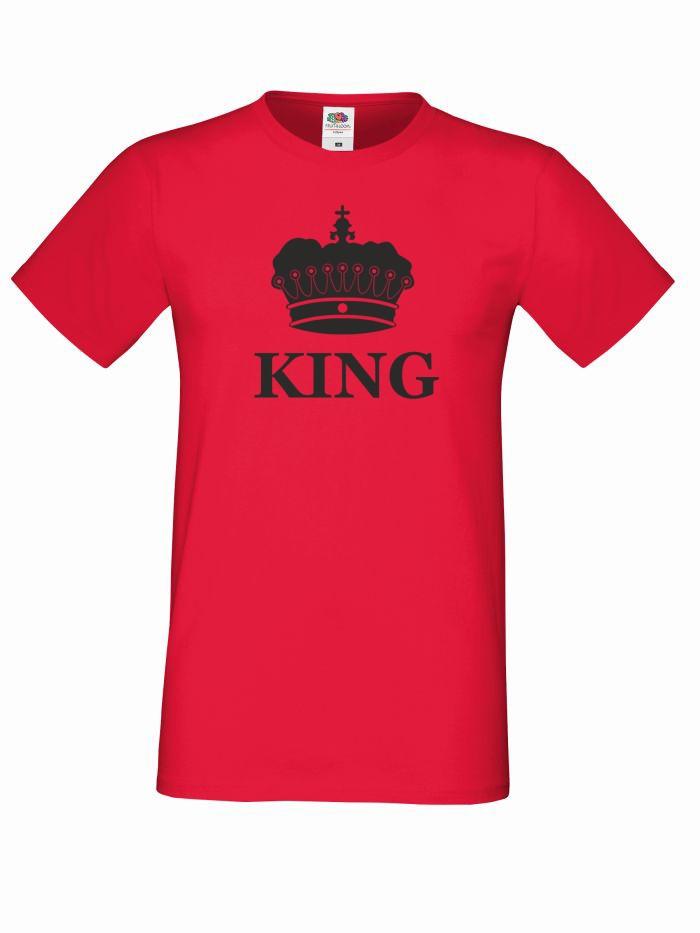 T-shirt oversize KING KORONA L czerwony