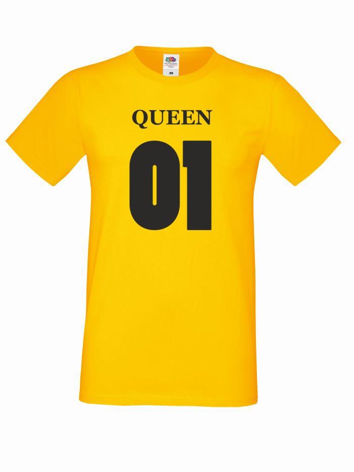 T-shirt oversize QUEEN 01 XL żółty