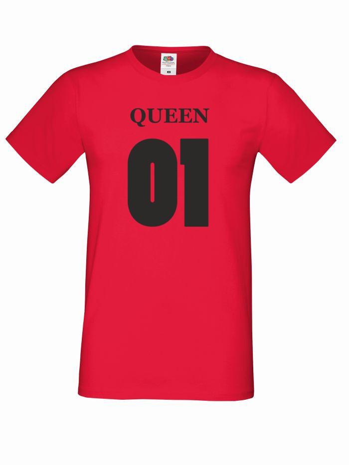 T-shirt oversize QUEEN 01 L czerwony