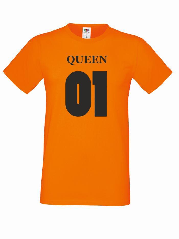 T-shirt oversize QUEEN 01 M pomarańczowy