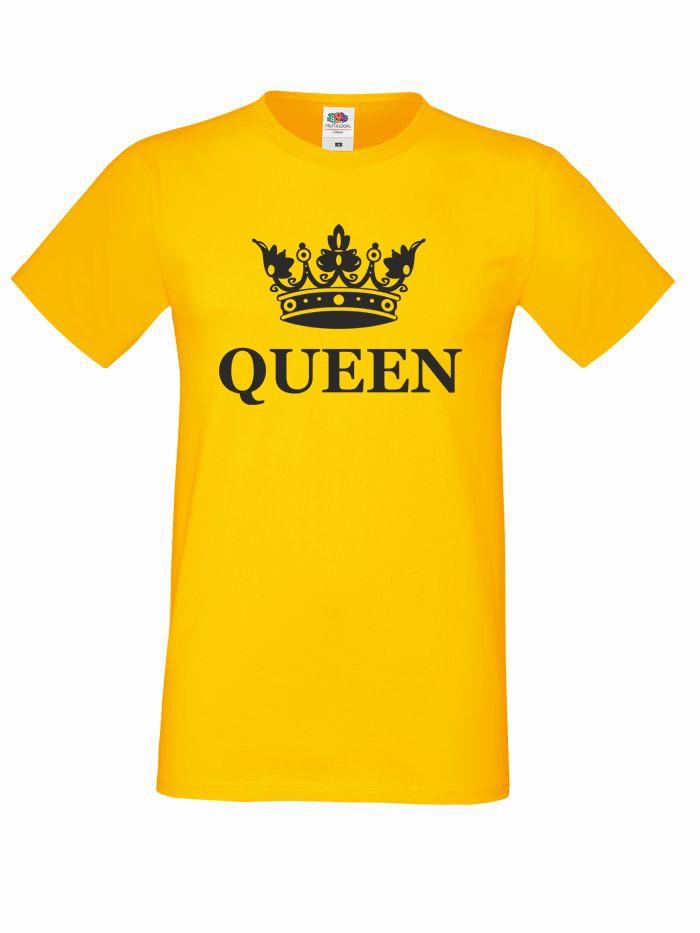 T-shirt oversize QUEEN KORONA M żółty