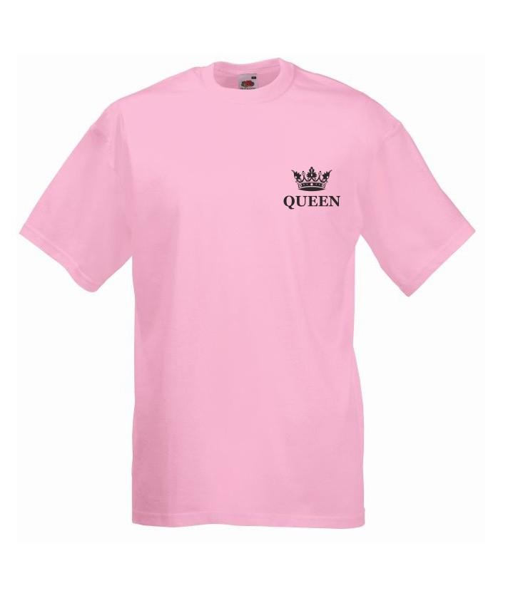 T-shirt oversize QUEEN KORONA MINI S jasny róż