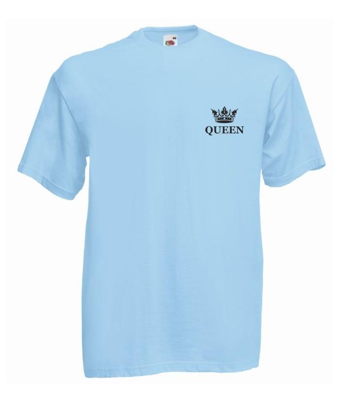 T-shirt oversize QUEEN KORONA MINI L błękitny