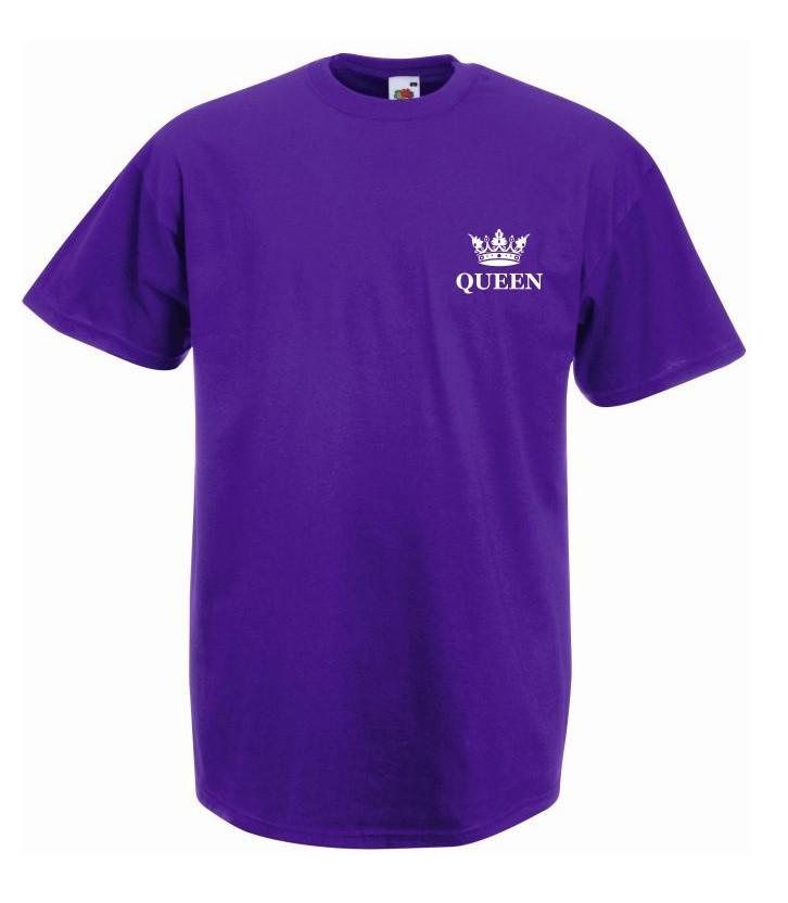 T-shirt oversize QUEEN KORONA MINI XL fioletowy