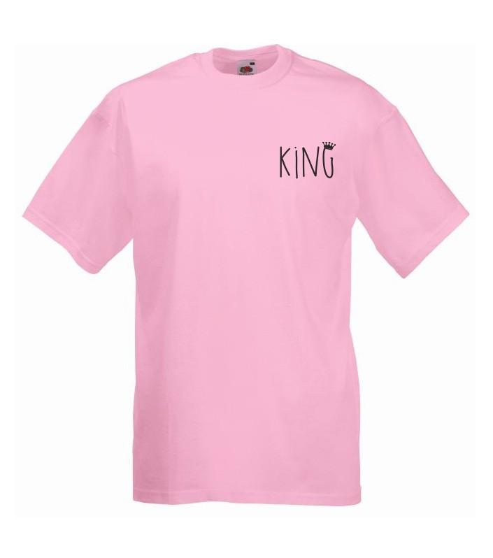 T-shirt oversize KING 2 MINI S jasny róż