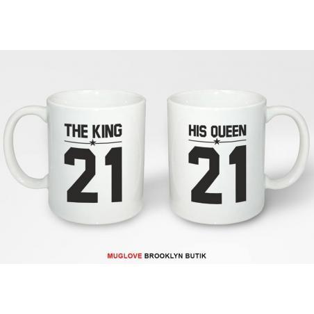 Kubek z nadrukiem 2 sztuki the KING & his QUEEN dla niej dla niego