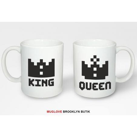 Kubek z nadrukiem 2 sztuki the KING & his QUEEN pixel dla niej dla niego