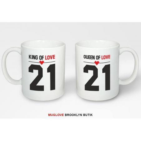 Kubek z nadrukiem 2 sztuki KING QUEEN LOVE 21 dla niej dla niego