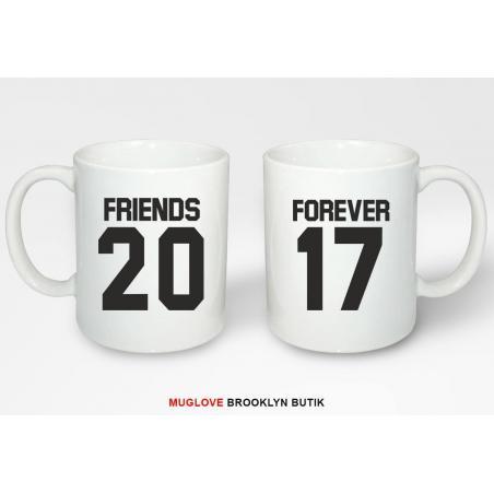 Kubek z nadrukiem 2 sztuki FRIENDS FOREVER 2017 dla niej dla niego