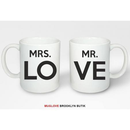 Kubek z nadrukiem 2 sztuki LOVE MR MRS dla niej dla niego