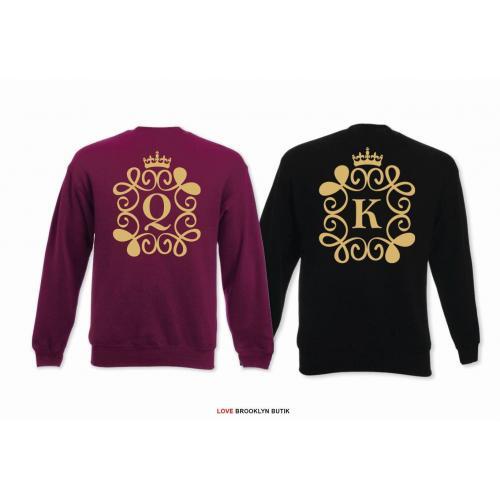 Bluza oversize DLA PAR 2 SZT QUEEN corone & KING corone GOLD napis z tyłu