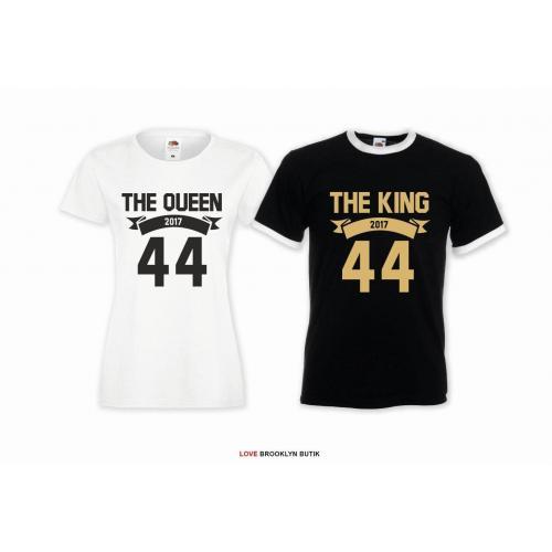 T-shirt DLA PAR 2 SZT QUEEN 44 & KING 44 napis z przodu LADY FIT DLA NIEJ & OVERSIZE DLA NIEGO