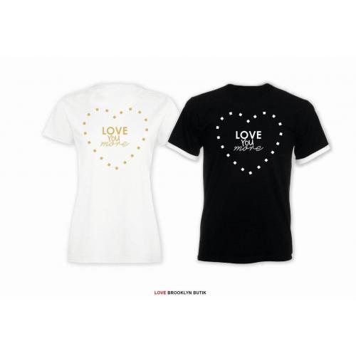 T-shirt DLA PAR 2 SZT LOVE YOU MORE napis z tyłu LADY FIT DLA NIEJ & OVERSIZE DLA NIEGO