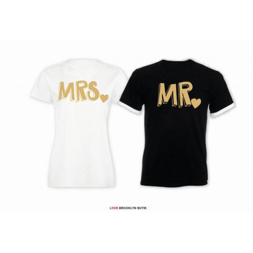 T-shirt DLA PAR 2 SZT MRS & MR napis z tyłu LADY FIT DLA NIEJ & OVERSIZE DLA NIEGO