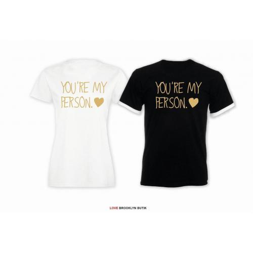 T-shirt DLA PAR 2 SZT PERSON napis z tyłu LADY FIT DLA NIEJ & OVERSIZE DLA NIEGO