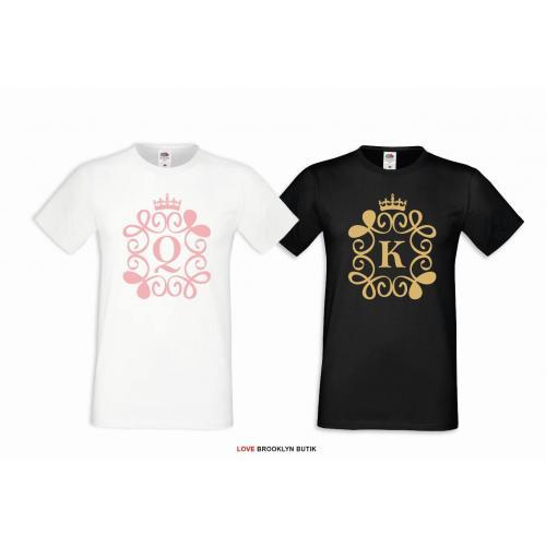 T-shirt DLA PAR 2 SZT BEST GIRL EVER PINK & BEST BOY EVER GOLD napis z przodu