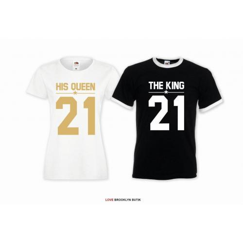 T-shirt DLA PAR 2 SZT HIS QUEEN 21 & THE KING 21 napis z przodu LADY FIT DLA NIEJ & OVERSIZE DLA NIEGO