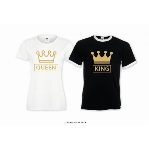 T-shirt DLA PAR 2 SZT  QUEEN CC & KING CC napis z przodu LADY FIT DLA NIEJ & OVERSIZE DLA NIEGO