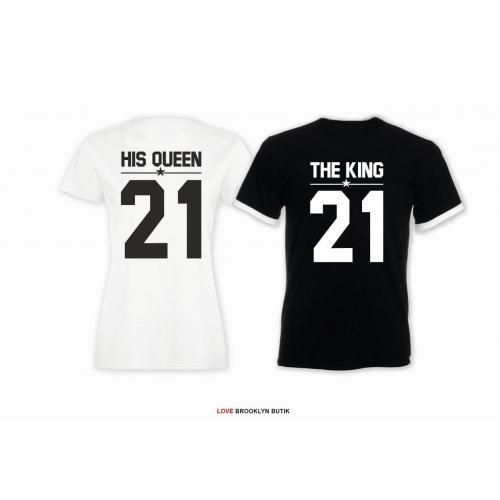 T-shirt DLA PAR 2 SZT HIS QUEEN 21 & THE KING 21 napis z tyłu LADY FIT DLA NIEJ & OVERSIZE DLA NIEGO