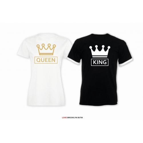 T-shirt DLA PAR 2 SZT QUEEN CC & KING CC napis z tyłu LADY FIT DLA NIEJ & OVERSIZE DLA NIEGO