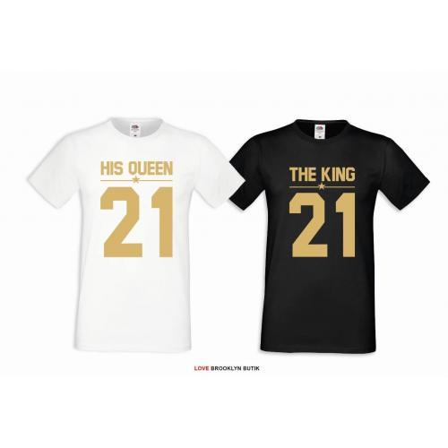 T-shirt DLA PAR 2 SZT HIS QUEEN 21 & THE KING 21 napis z przodu