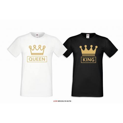 T-shirt DLA PAR 2 SZT QUEEN CC & KING CC napis z przodu