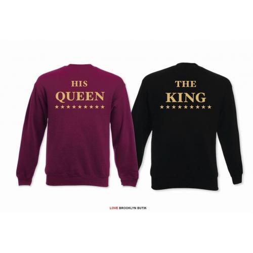 Bluza oversize DLA PAR 2 SZT HIS QUEEN STARS & THE KING STARS napis z tyłu