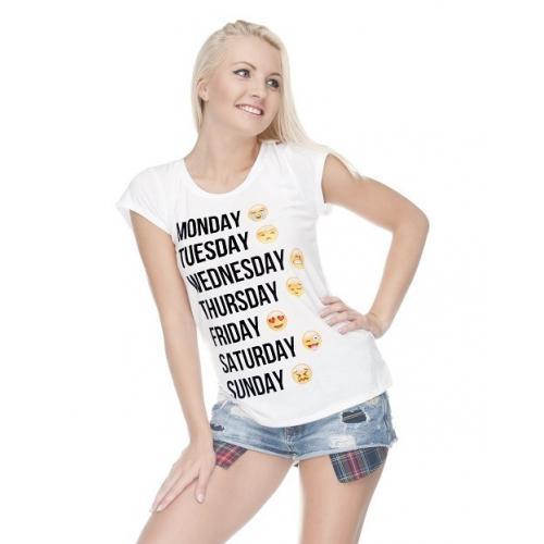 T-shirt lady slim DTG EMOJI WEEK