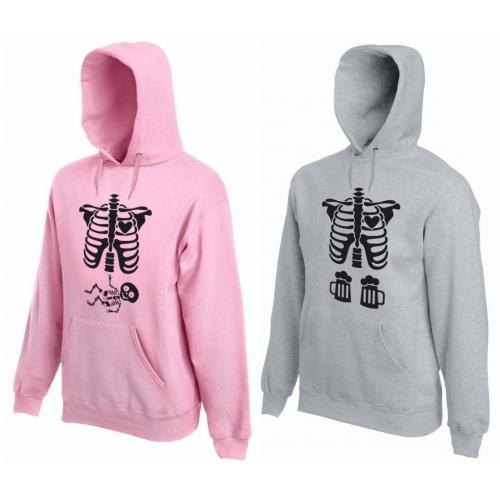Bluza z kapturem DLA PAR 2 SZT QUEEN 01 PINK & KING 01 GREY