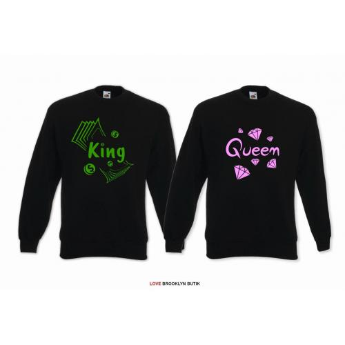 Bluzy oversize dla par 2szt. KING of MONEY & QUEEN of DIAMONDS