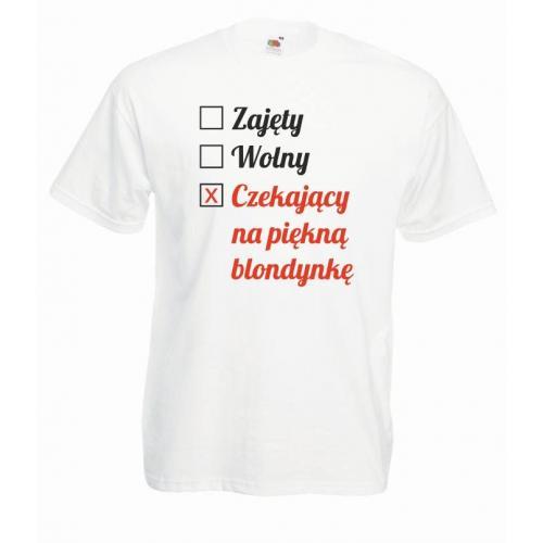 T-shirt oversize DTG CZEKAJĄCY NA PIĘKNĄ BLONDYNKĘ