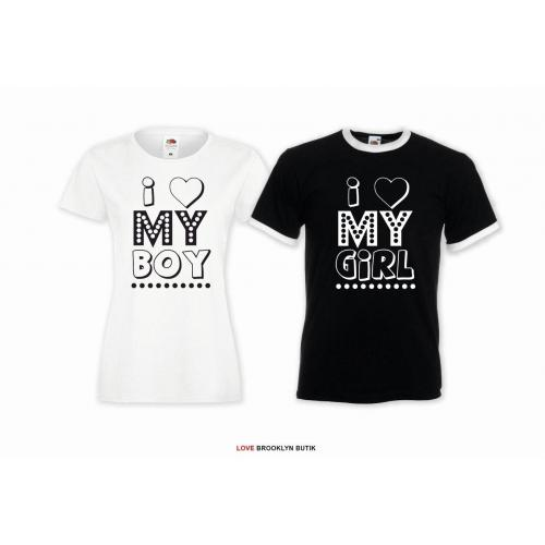 T-shirt DLA PAR 2 SZT I MY BOY I MY GIRL napis z przodu