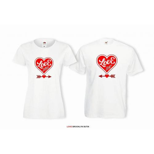 T-shirt lady i oversize DLA PAR 2 SZT LOVE HIM & LOVE HER