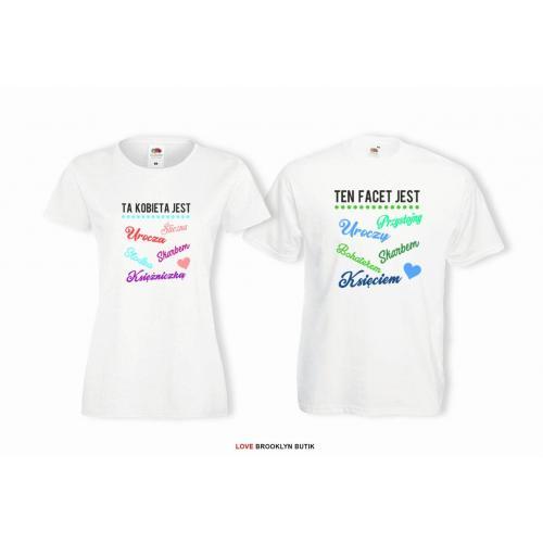 T-shirt lady i oversize DLA PAR 2 SZT TA KOBIETA & TEN FACET
