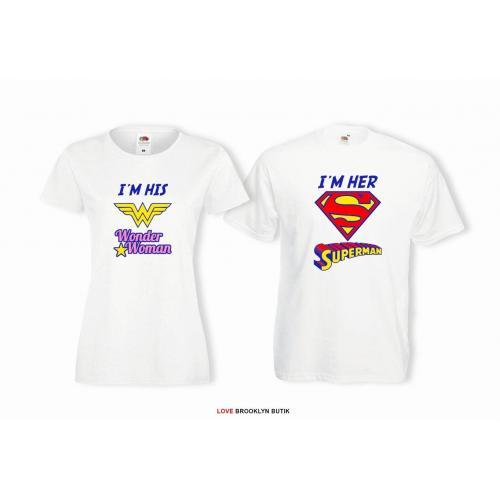 T-shirt lady i oversize DLA PAR 2 SZT WONDER WOMAN  & SUPERMAN