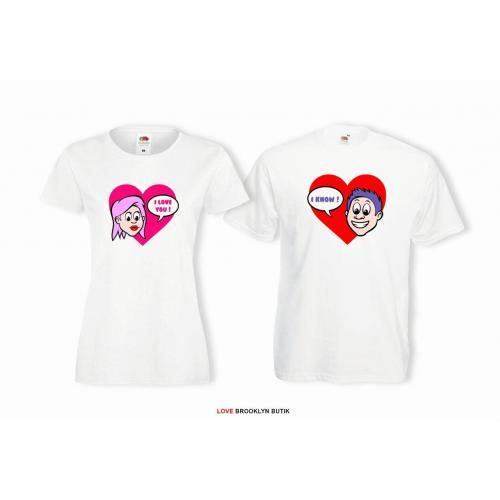 T-shirt lady i oversize DLA PAR 2 SZT I LOVE YOU & I KNOW