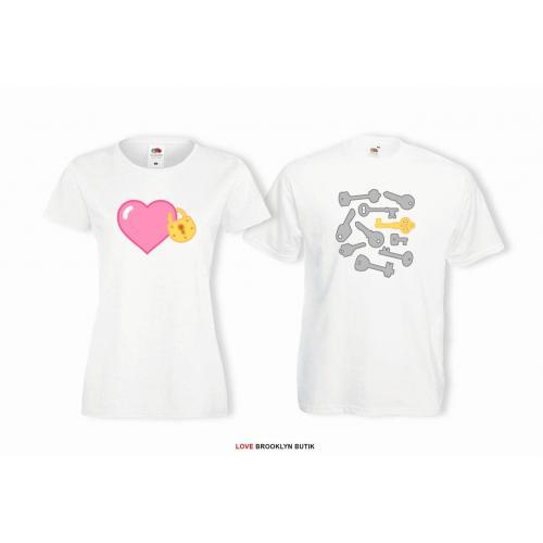 T-shirt lady i oversize DLA PAR 2 SZT HEART & KEYS