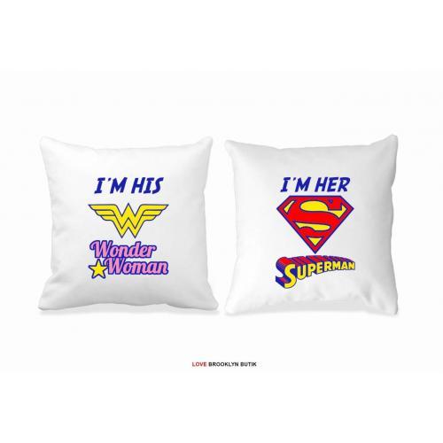 Poduszki druk dla par 2 szt. WONDER WOMAN & SUPERMAN