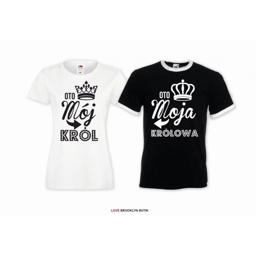 T-shirt DLA PAR 2 SZT MÓJ król MOJA królowa napis z przodu