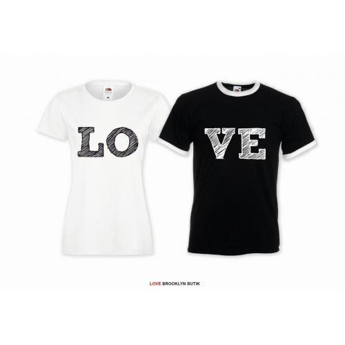 T-shirt DLA PAR 2 SZT LO VE TWO napis z przodu