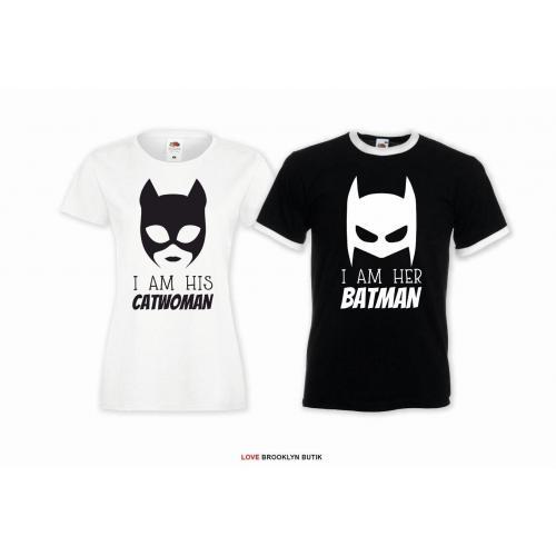 T-shirt DLA PAR 2 SZT CATWOMAN & BATMAN napis z przodu